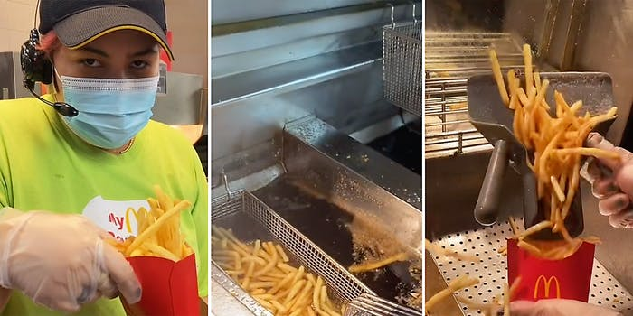 A McDonald's worker making French fries.