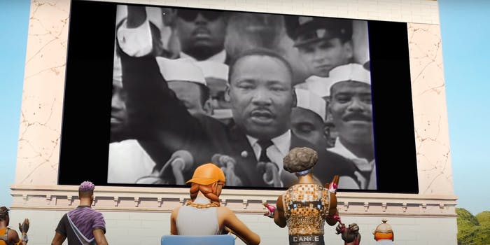 martin luther king jr reciting i have a dream speech on screen in fortnite