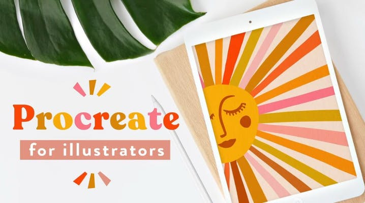 procreate for illustrators in text next to ipad with sun illustration