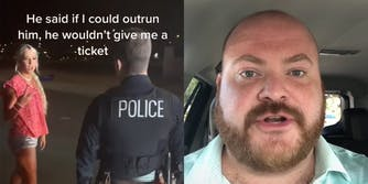 """young woman talking to police officer with caption """"He said if I could outrun him, he wouldn't give me a ticket"""" (l) man in car (r)"""