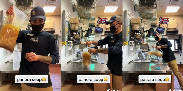 """man holds up bag of soup (l) man cuts top off bag of soup (c) man pours soup into container (r) all with caption """"panera soup"""""""