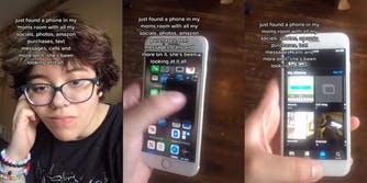 A TikTok shows a phone that a parent allegedly uses to spy on her son.