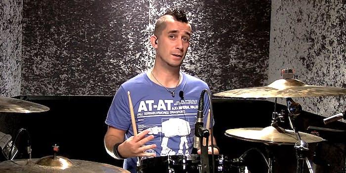 pete parada the offspring drummer at his kit