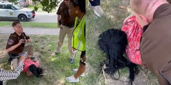 police officer sits on young woman on ground, speaking to her mother (l) young woman with face in the grass, held down by police officers (r)