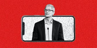 Tim Cook and an iPhone.