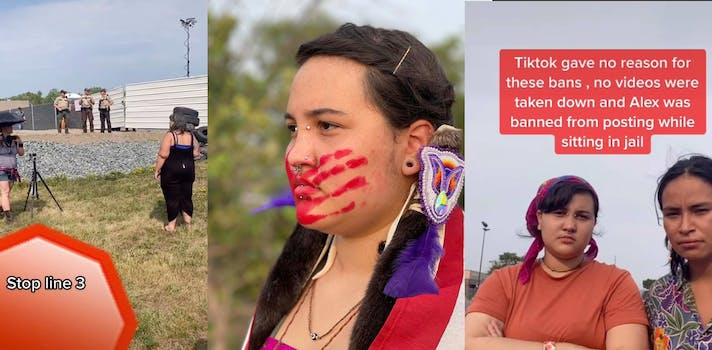 montage of native american woman at protests