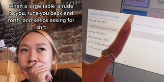 """young woman with caption """"when a large table is rude to you, runs you back and forth, and keeps asking for sh*t"""" (L) woman pressing """"Large Party/Auto Grat (20%)"""" button on screen (R)"""