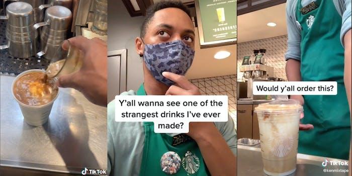 starbucks barista makes drink on starbucks