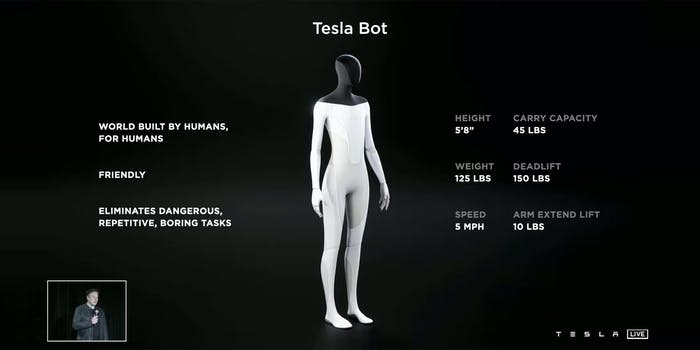 Tesla bot concept with inset of Elon Musk with microphone