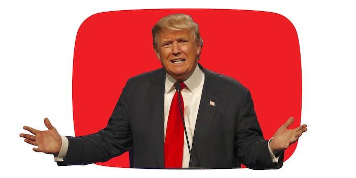 donald trump inside red youtube logo