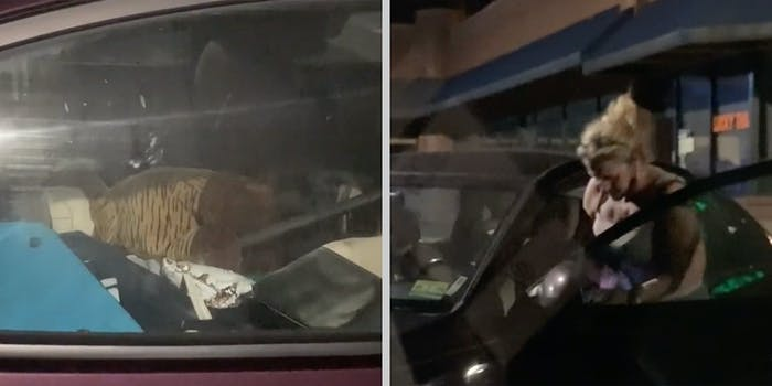 A messy car (L) and a woman getting into the car (R).