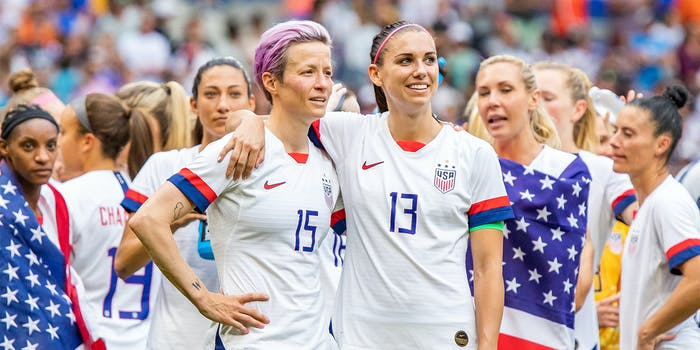Megan Rapinoe and Alex Morgan of the USWNT are seen after the 2019 FIFA Women's World Cup Final match between USA and Netherlands.