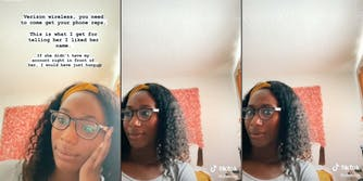 A TikTok shows a Verizon Wireless employee speaking with a customer about slavery and human trafficking over the phone.