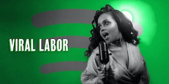 """Black woman with vintage condenser mic over Spotify background with caption """"Viral Labor"""""""
