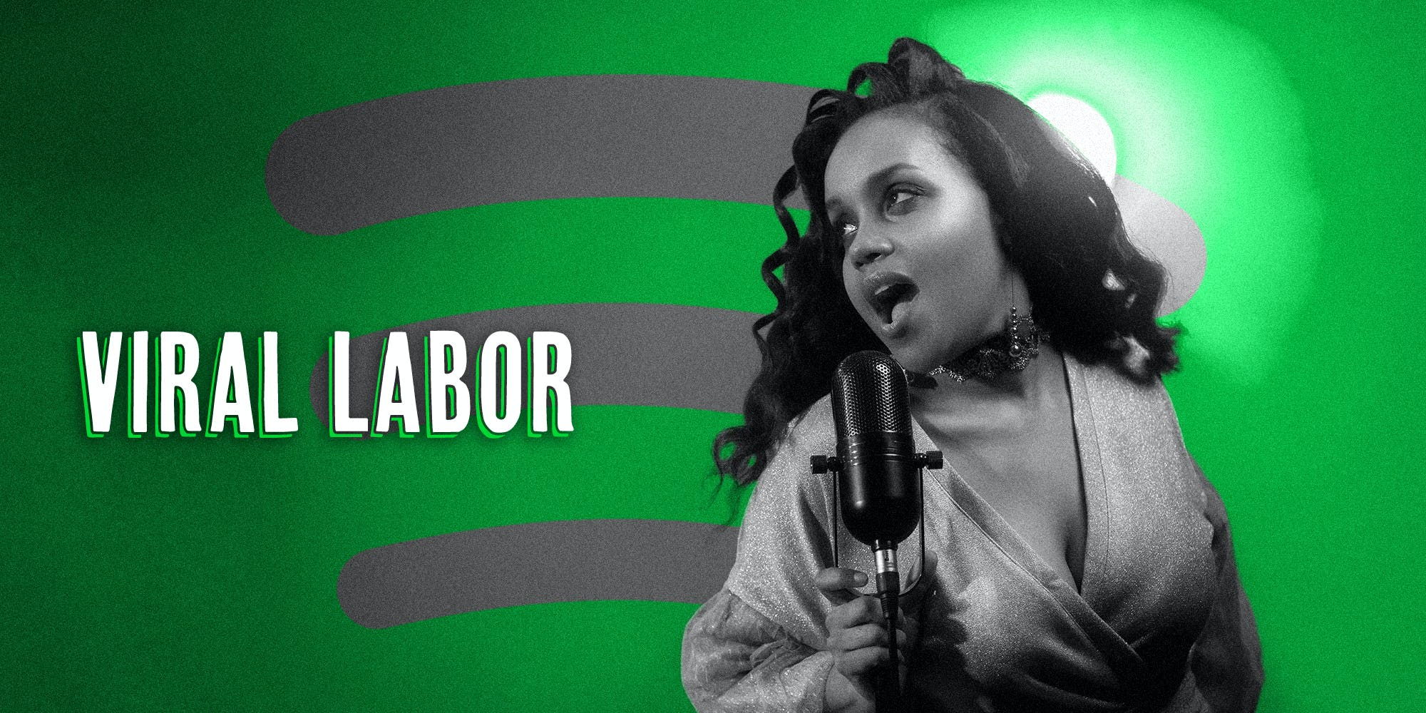 Black woman with vintage condenser mic over Spotify logo