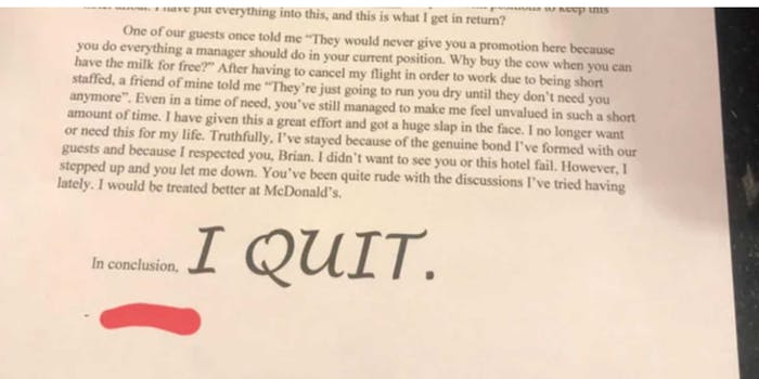 """viral quitting letter with all-caps """"I QUIT"""""""