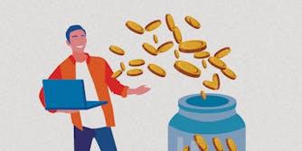 A cartoon man with coins.