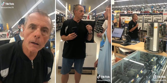 man stares into camera (l) two men in confrontation (c) man backing away down store aisle (r)