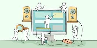 cartoon people building a website