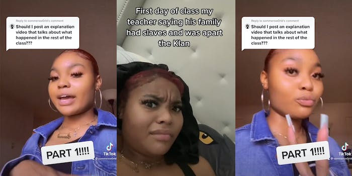 """young woman with caption """"Should I post an explanation video that talks about what happened in the rest of the class???"""" (l) young woman with perplexed look and caption """"First day of class my teacher saying his family had slaves and was apart of the Klan"""" (c) young woman giving peace sign (r)"""