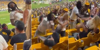 woman slapping man in face, man fighting with couple, man separated from couple