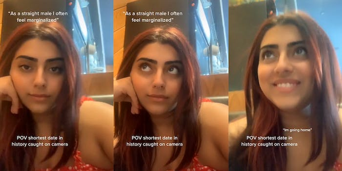 """woman looking into camera with captions """"As a straight male I often feel marginalized"""" and """"POV shortest date in history caught on camera"""" (l) same woman with same captions looking off-screen (c) woman smiling with caption """"I'm going home"""" (r)"""