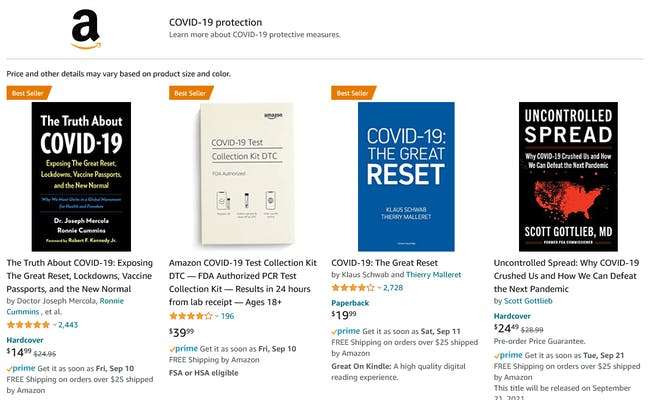 A search on Amazon for results related to COVID-19. They include books that Sen. Elizabeth Warren says include misinformation.