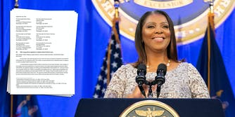 New York State Attorney General Letitia James next to a letter signed by 32 other attorneys general supporting the House antitrust bills.