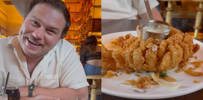 Two panel image. On the left is a man sitting at a table wearing a white shirt and smiling at the camera. On the right is a plate with a bloomin' onion with a ring sitting on one of the onion petals.