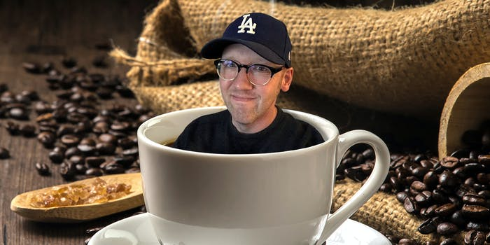 Craig Calcaterra inside of a cup of coffee