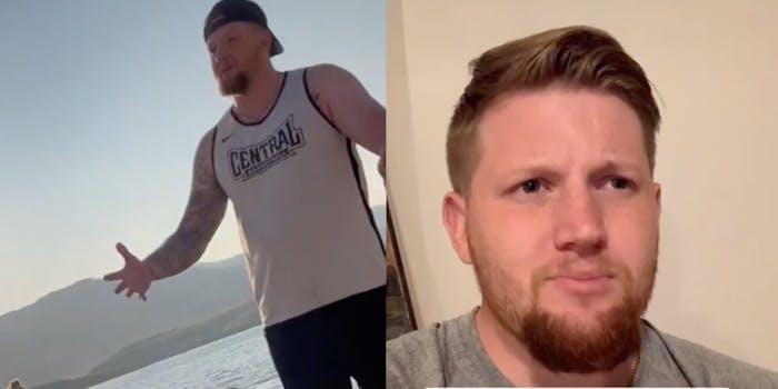 (L-R) Logan Dorn shaming two women for their beachwear; Dorn defending himself in a video