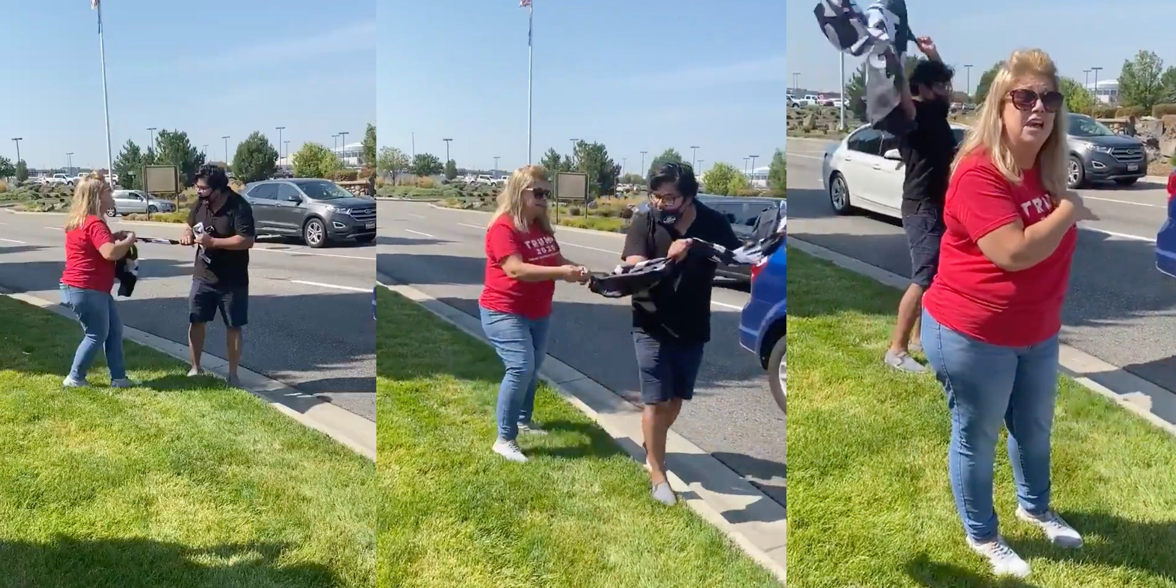 A woman tried to snatch a BLM flag from a man