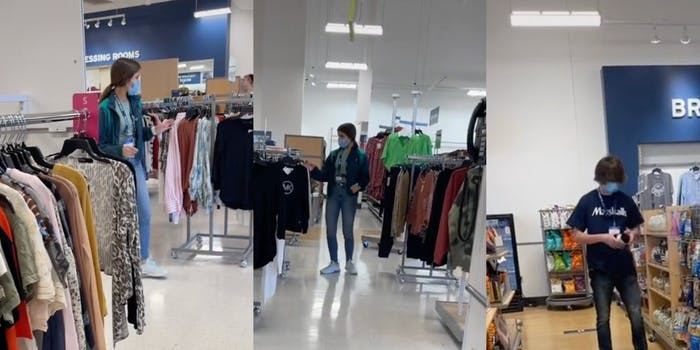 Katie Powell documented two Marshalls employees following them around the store