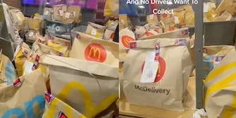 Video shows a McDonald's counter packed with delivery orders