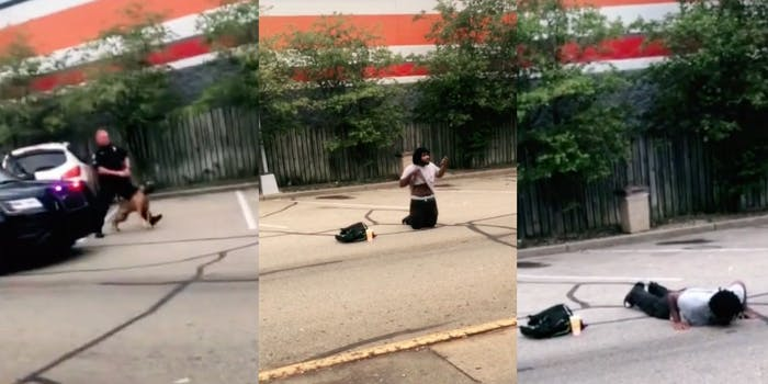 A Black man was cornered and arrested by Michigan police as he was leaving his workplace