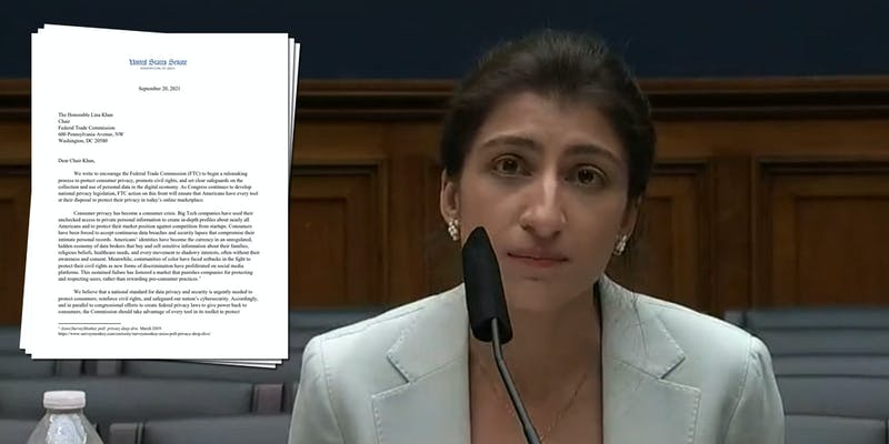 FTC Chair Lina Khan next to a letter from Democrats urging the agency to start rulemaking to protect consumer data privacy.
