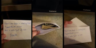 Screenshots from a TikTok where the user leaves a note that reads: 'Heard Doordash is stealing tips. Tipped $6.00 online. Here is extra just in case. Thanks'