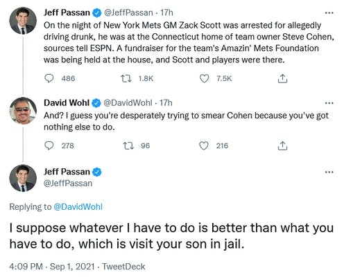 A Twitter exchange between Jeff Passan and David Wohl.