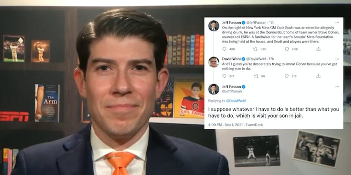 ESPN reporter Jeff Passan next to a screenshot of his Twitter exchange with David Wohl.
