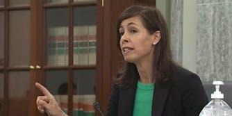 Acting FCC Chair Jessica Rosenworcel speaking before Congress in 2020.
