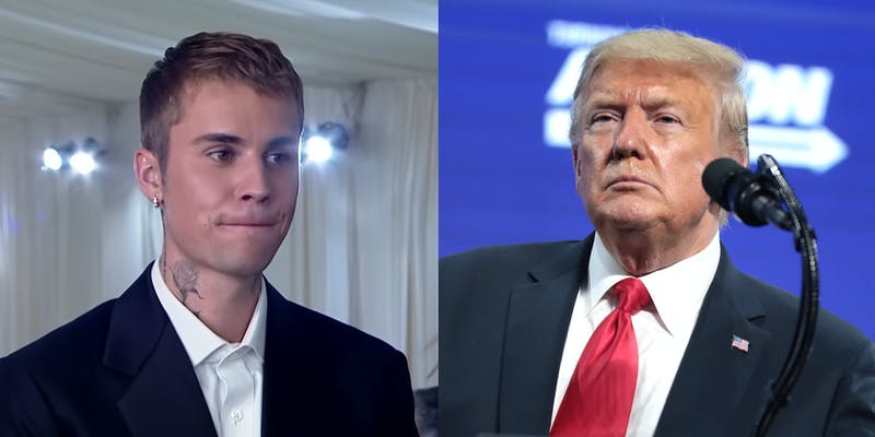A side by side of Justin Bieber and Donald Trump.