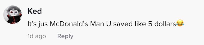 Its jus McDonald's man you saved like three dollars