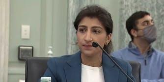 FTC Chair Lina Khan testifying in Congress.