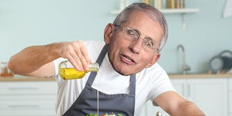 A doctored image of Anthony Fauci pouring salad dressing.