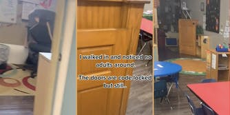 empty daycare office, open gate into daycare room, daycare play room