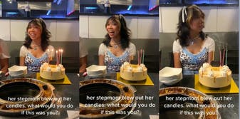 Stepmom blows out stepdaughter's candles