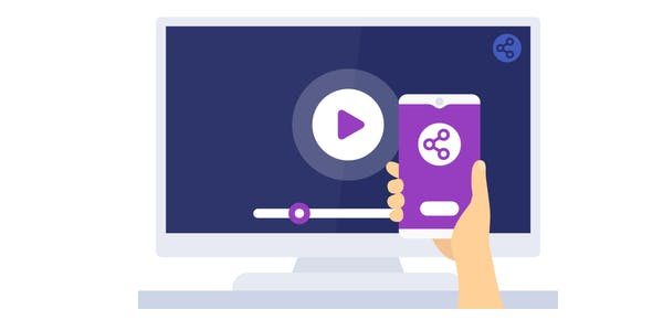 A graphic of a smart phone streaming to a tv