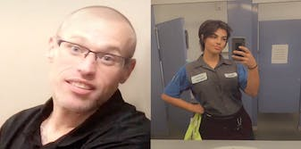 Two panel picture. On the left is a male mechanic with no hair and glasses. On the right is a female mechanic taking a picture in the mirror.