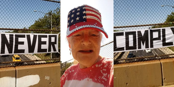 veronica wolski with american flag bedazzled hat (inset) NEVER COMPLY banner on interstate bridge