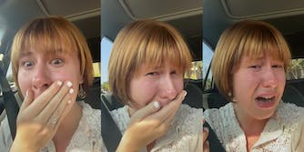 Young woman reacts in horror to her new haircut